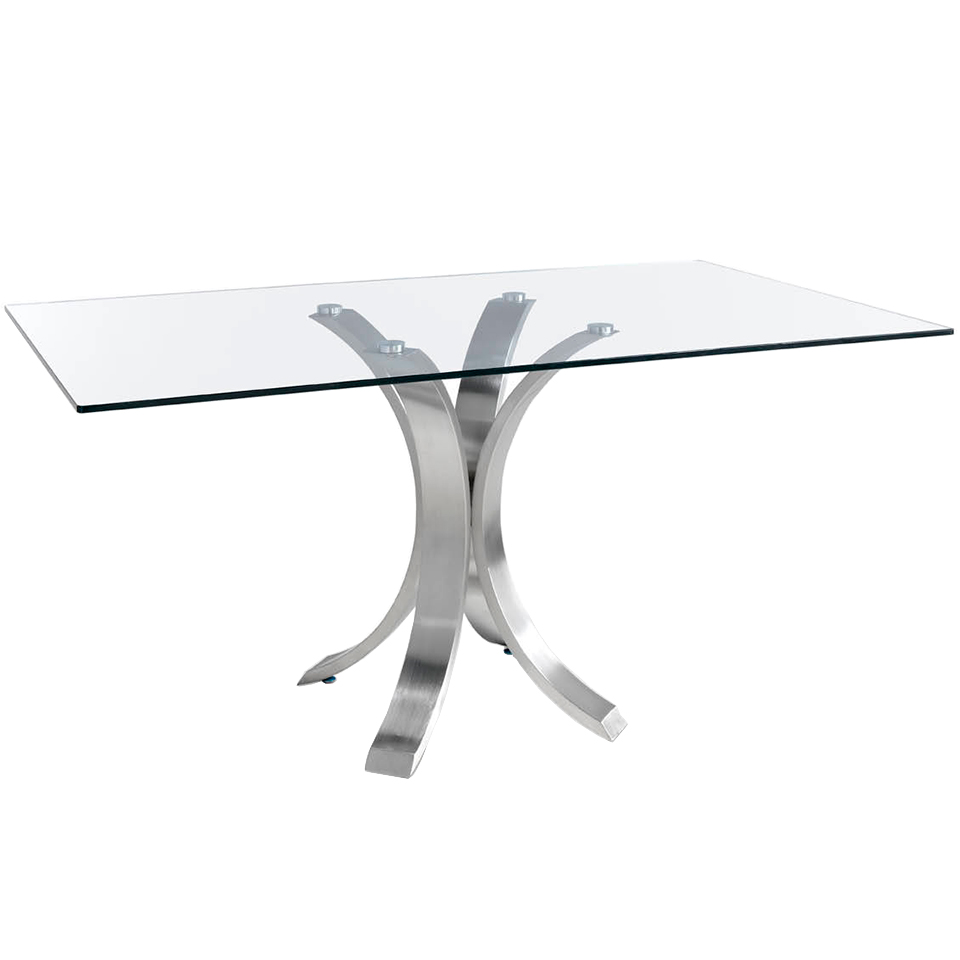 Dining table with curved polished steel base