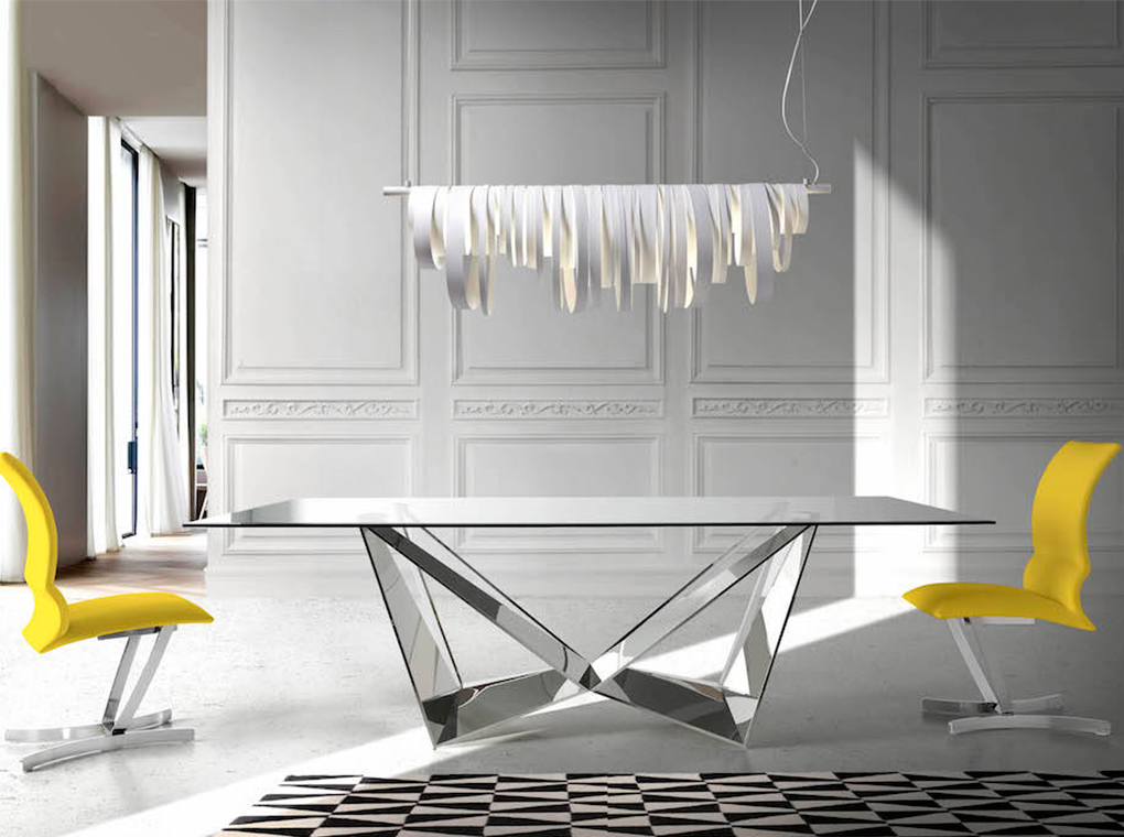 Tempered glass and chrome steel dining table
