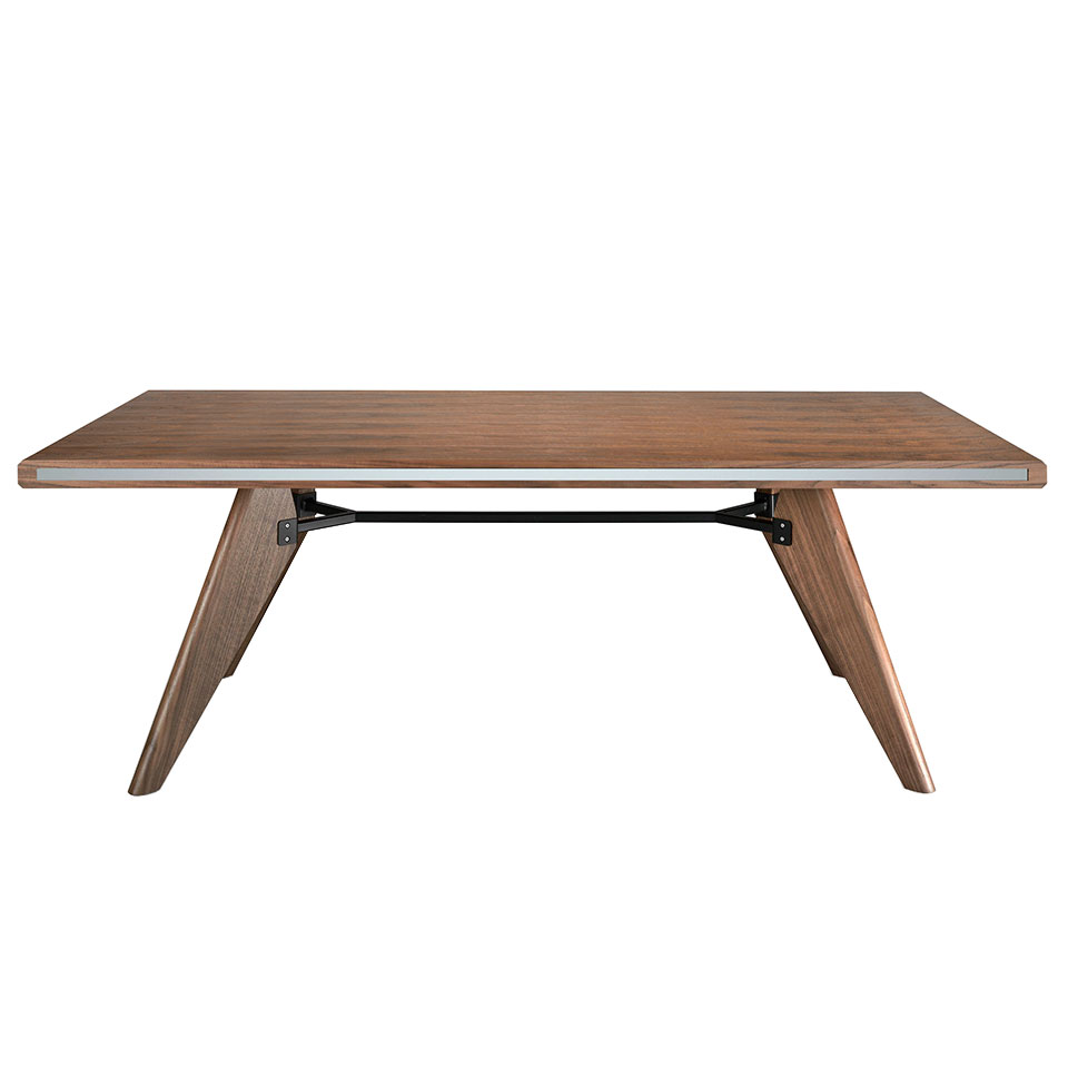 Walnut wood dining table with mirrored glass