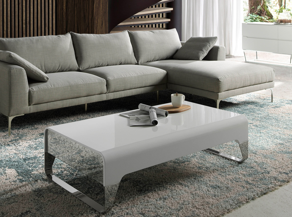Lacquered wooden centre table with side drawers and stainless steel legs