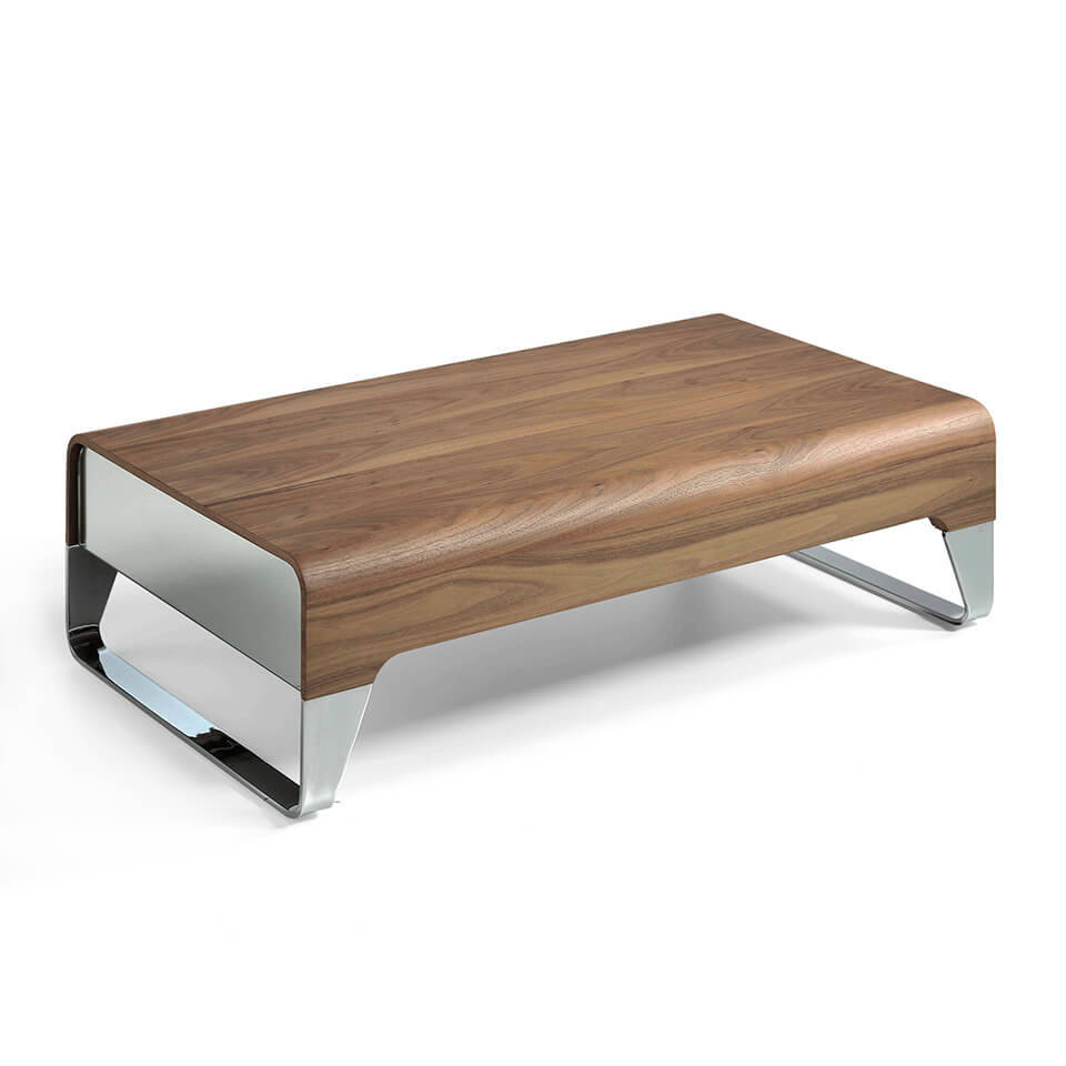 Walnut-veneered wooden centre table with side drawers and stainless steel legs.