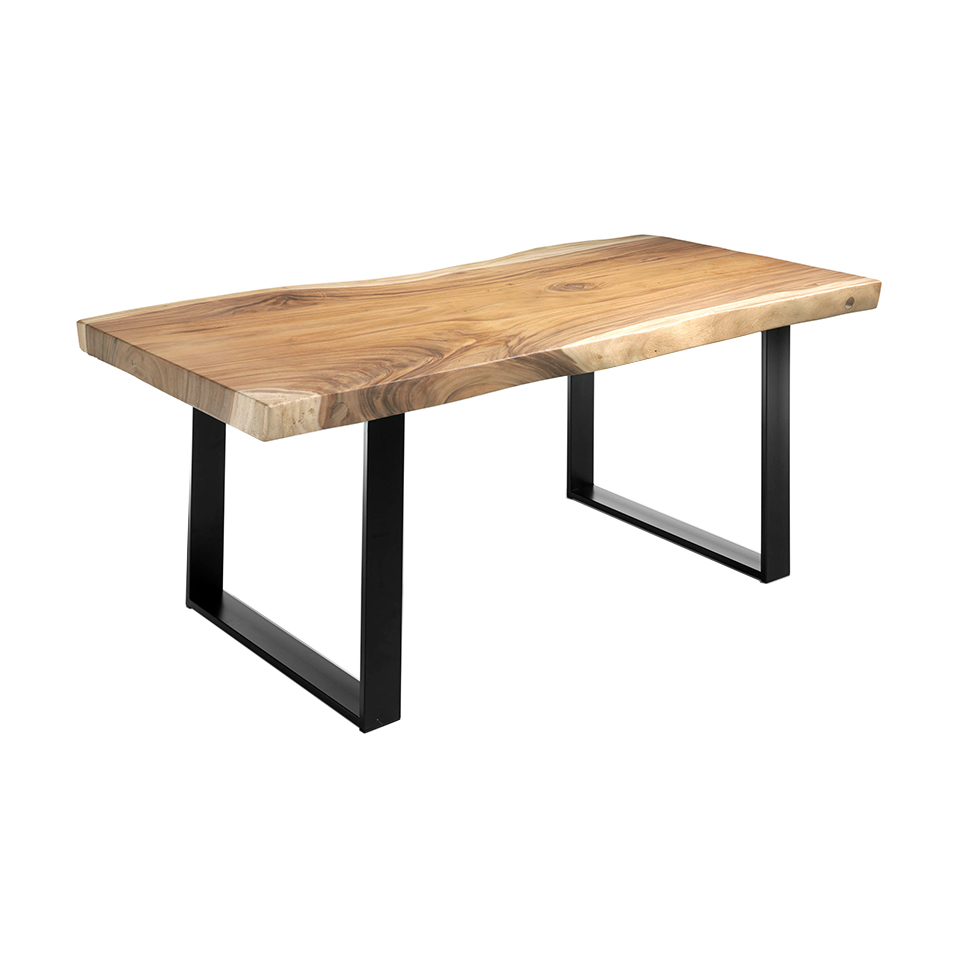 Suar wood dining table and black wrought iron