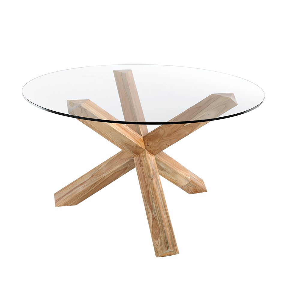 Round tempered glass and teak wood dining table