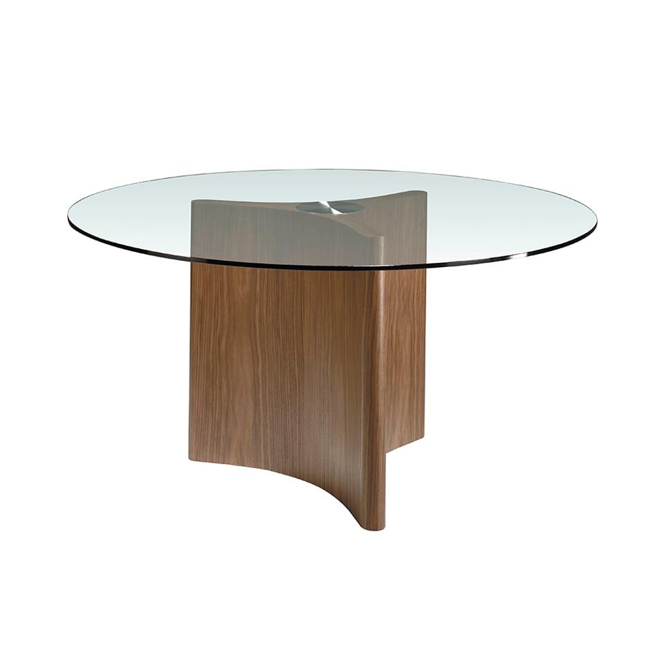 Mesa comedor cristal templado y madera acabado nogal natural
