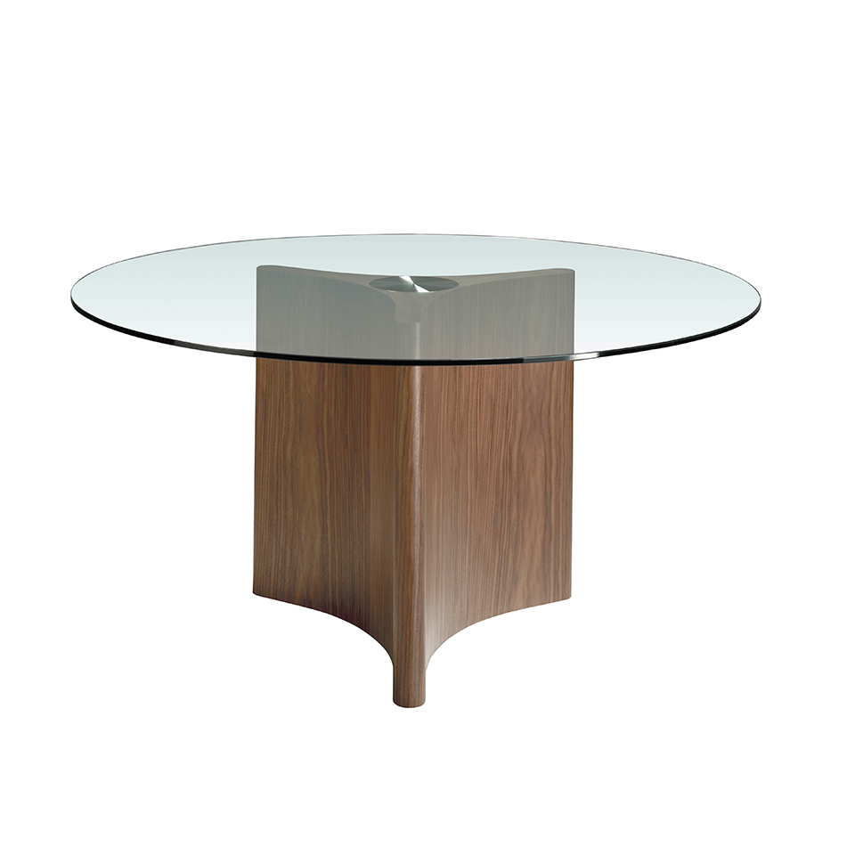 Dining table with tempered glass and wood in natural walnut finish