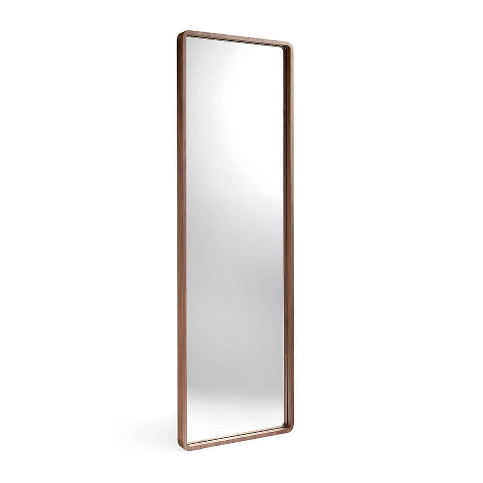 Foot mirror manufactured in Walnut-veneered wood