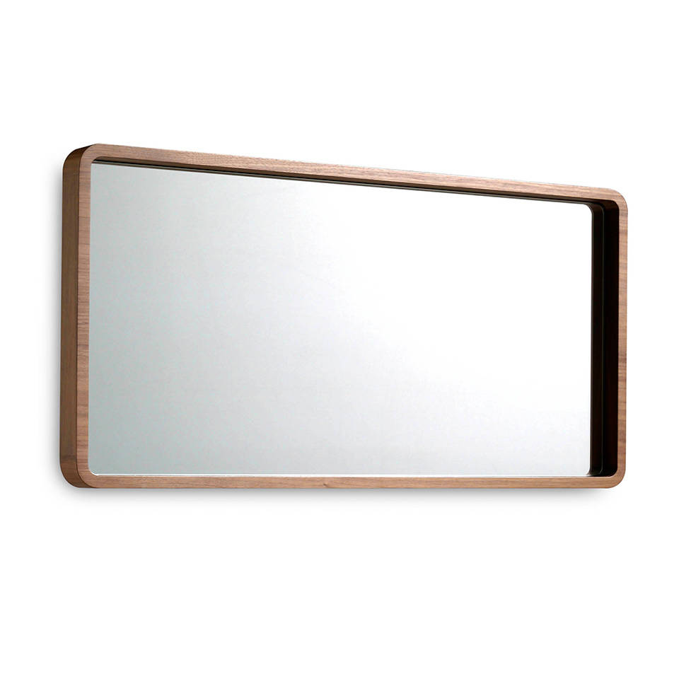 Wall mirror manufactured in Walnut-veneered wood.