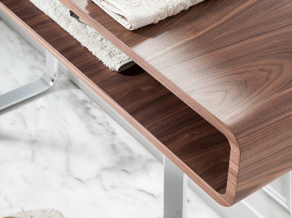Walnut console furniture with stainless steel legs
