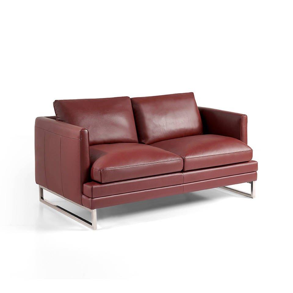 Sofá 2 plazas tapizado en piel con patas de acero inoxidable