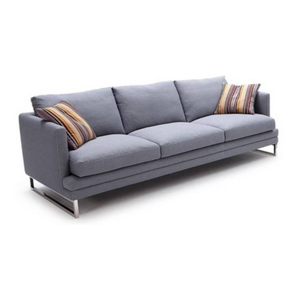 Sofá 3 plazas tapizado con patas de acero inoxidable