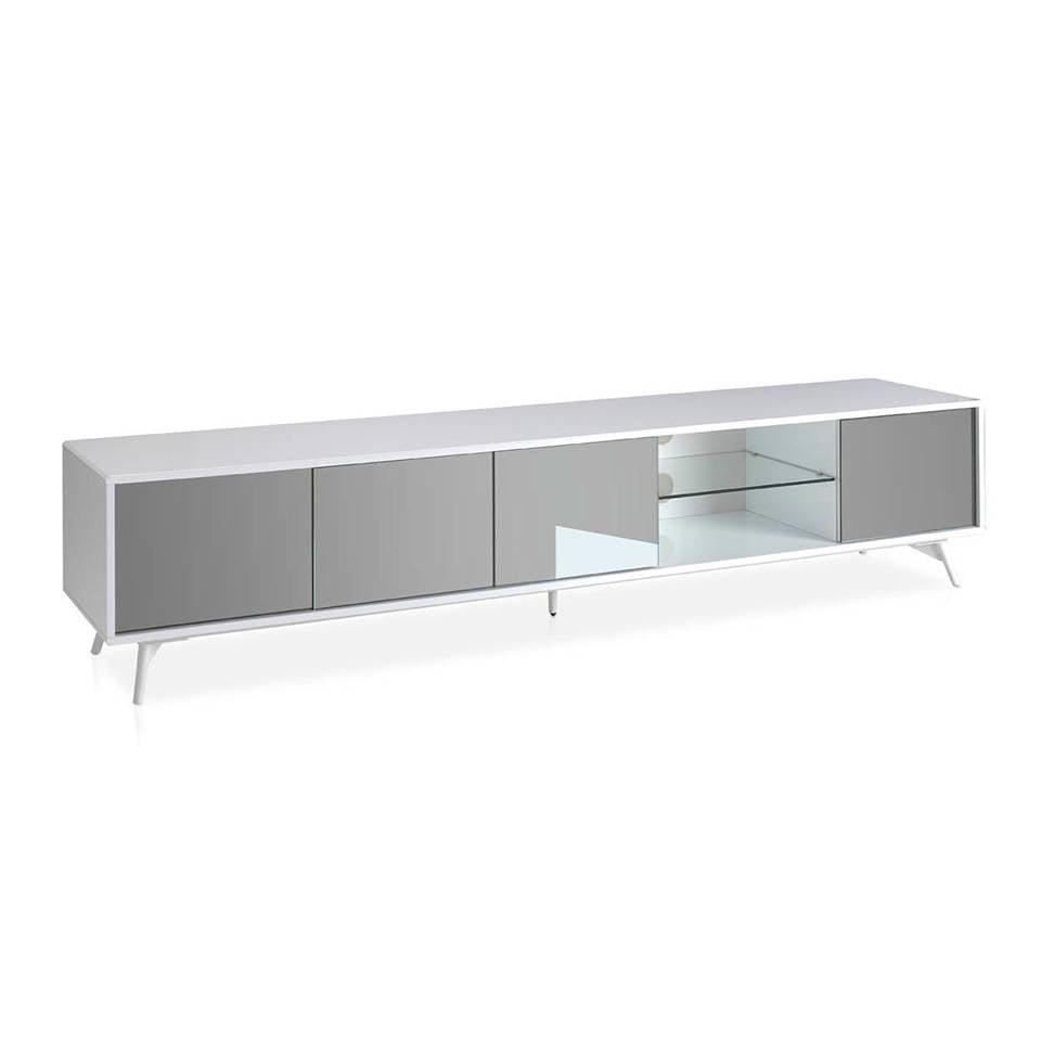 Mueble TV de madera lacada y puertas con frontales de espejo gris