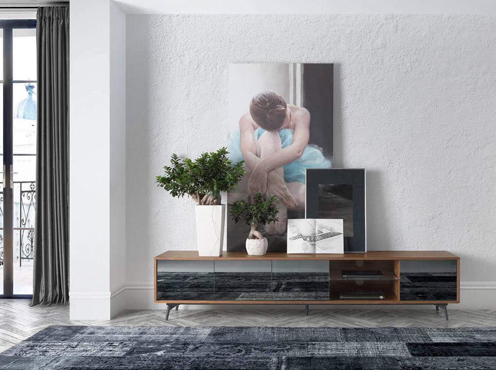 TV stand in walnut veneered wood with grey mirror glass front doors