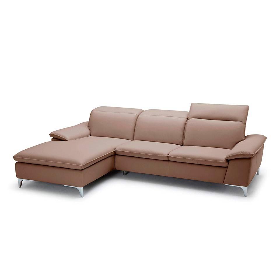 Sofá con chaiselong tapizado con patas de acero inoxidable