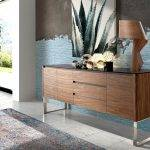 Wooden sideboard with Walnut veneer with black tempered glass cover.