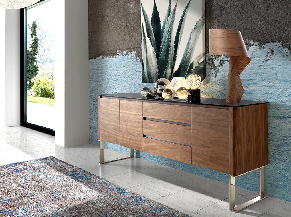 Walnut wood sideboard and Black tempered glass top