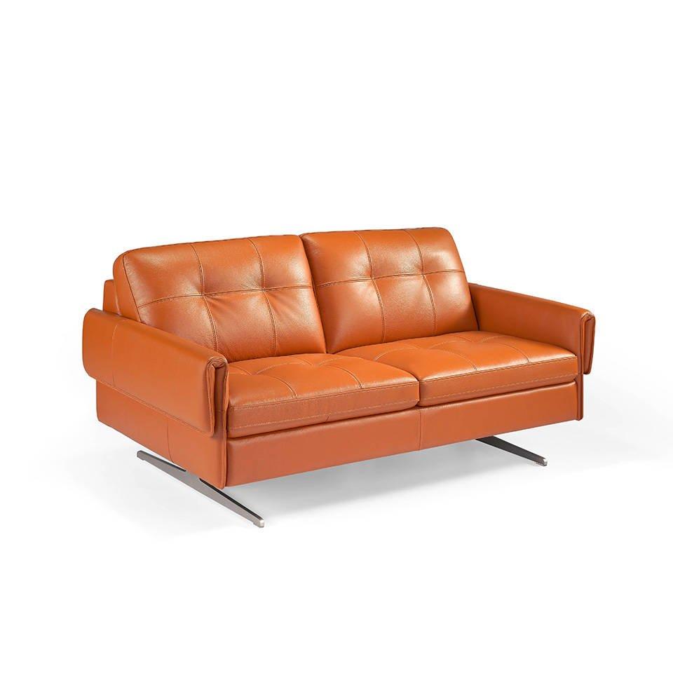 Sofá 2 plazas tapizado en piel con patas en acero inoxidable