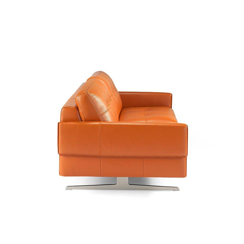 canap 2 places capitonn en cuir avec pieds en acier. Black Bedroom Furniture Sets. Home Design Ideas