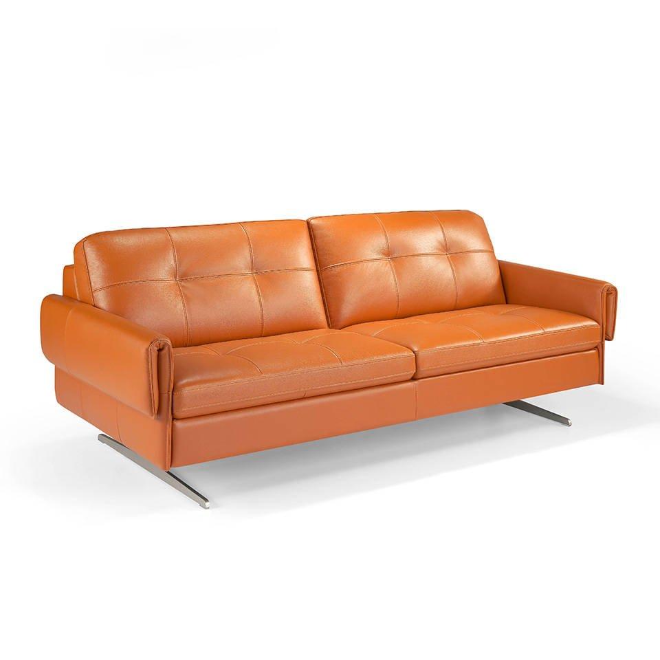 Sofá 3 plazas tapizado en piel con patas en acero inoxidable