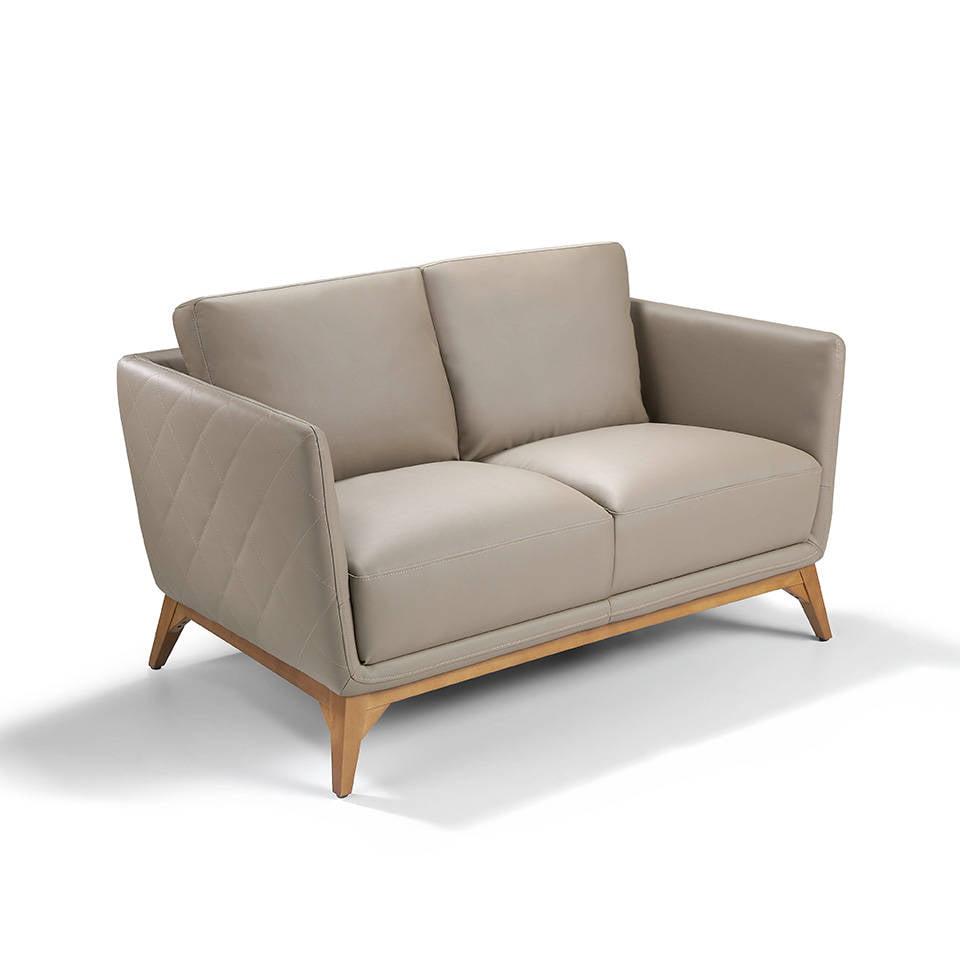 Canapé 2 places capitonné en cuir avec pieds en bois de Noyer