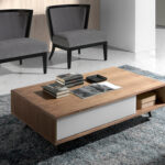 Walnut wood coffee table and white stained glass