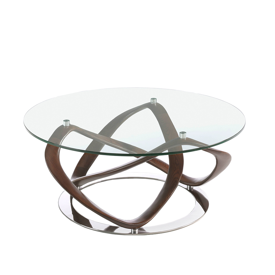 Round coffee table in tempered glass and walnut solid wood