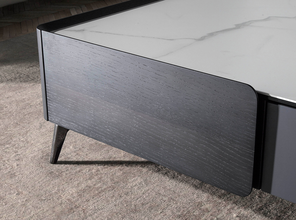 Square Wenge wood and porcelain marble coffee table