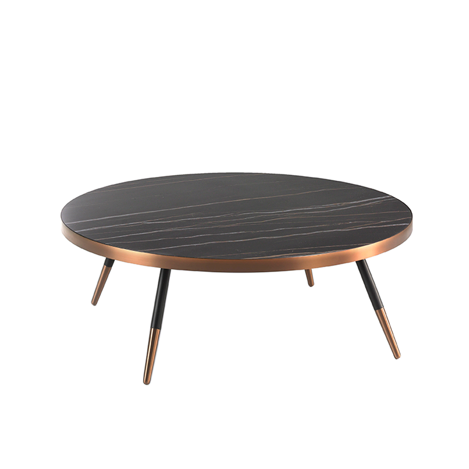 Porcelain black marble and steel round coffee table with bronze-colored chrome bath.