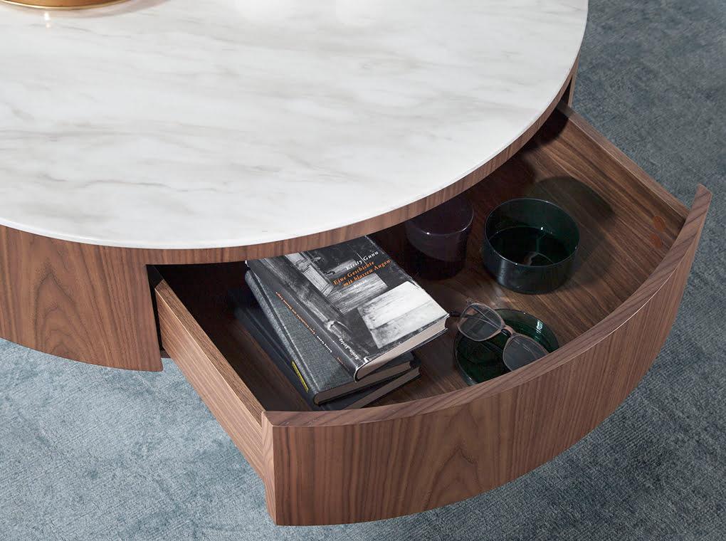 Coffee table walnut wood, white porcelain top and chrome base