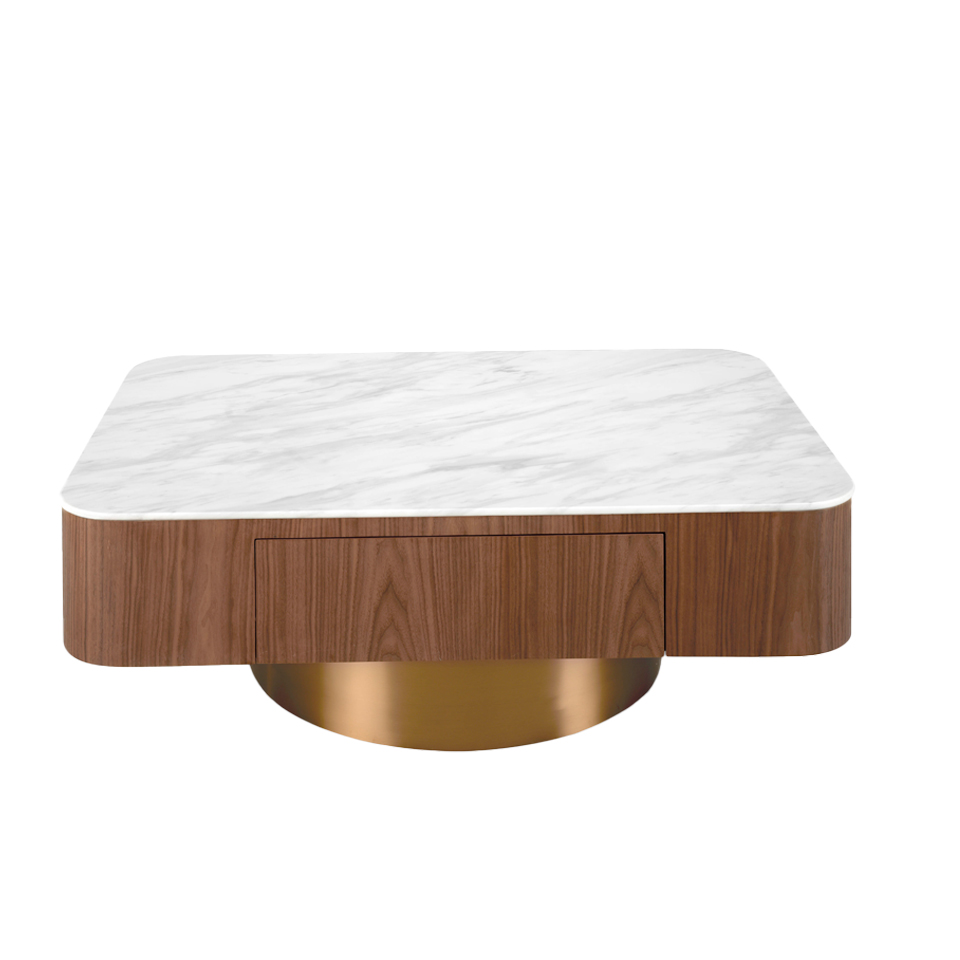 Mesa centro madera nogal, tapa porcelánica blanca y base cromada