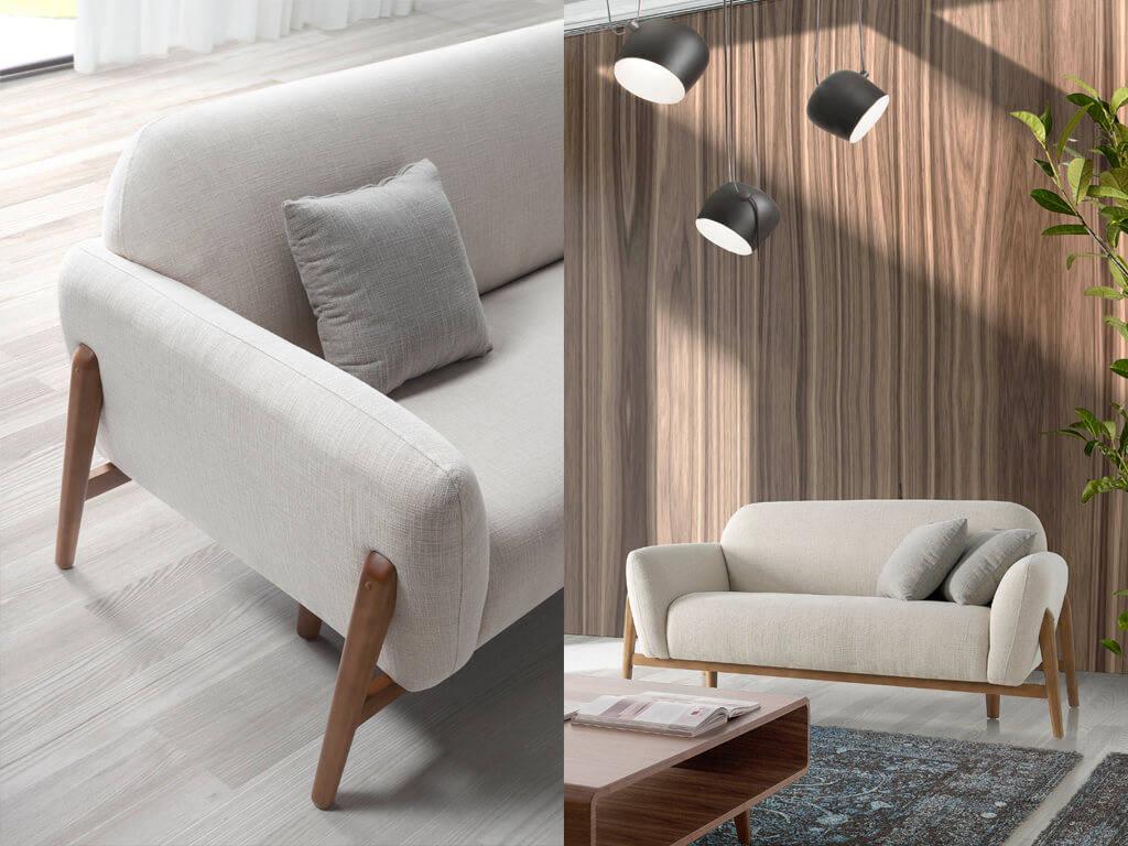 stoffbezogenes sofa mit holzf en designerm bel angel cerd. Black Bedroom Furniture Sets. Home Design Ideas