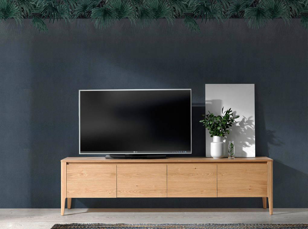 Mueble TV fabricado en chapa de roble