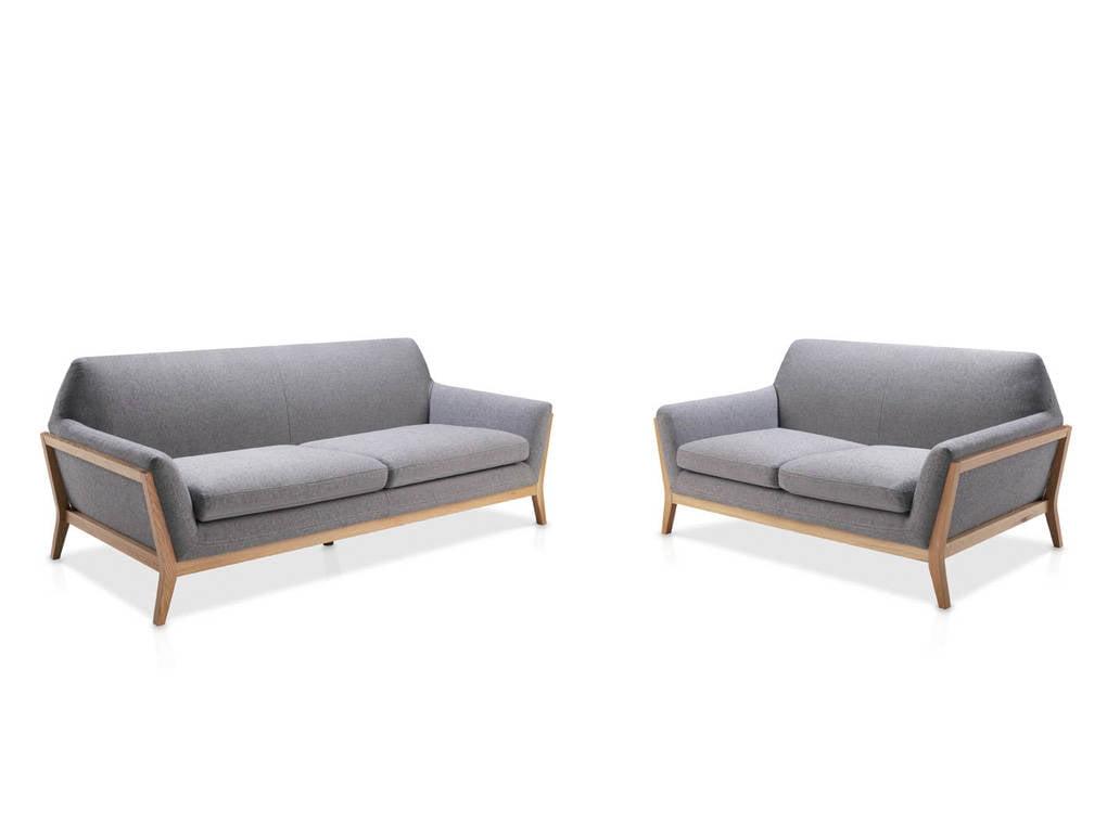 Upholstered Sofa With Solid Oak Wood Frame.