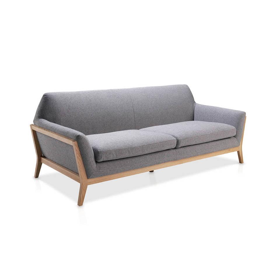 Sofá 3 plazas tapizado con estructura en madera de roble macizo