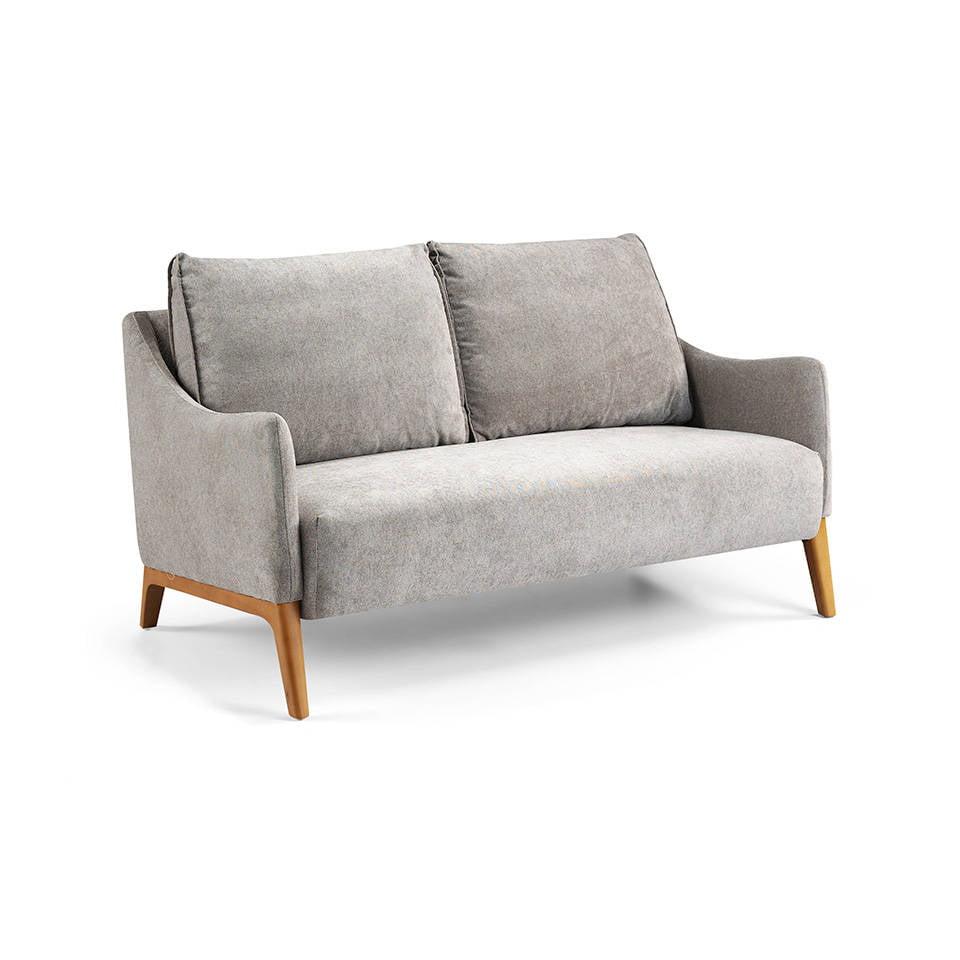 Sofá 2 plazas tapizado en tela con patas de madera