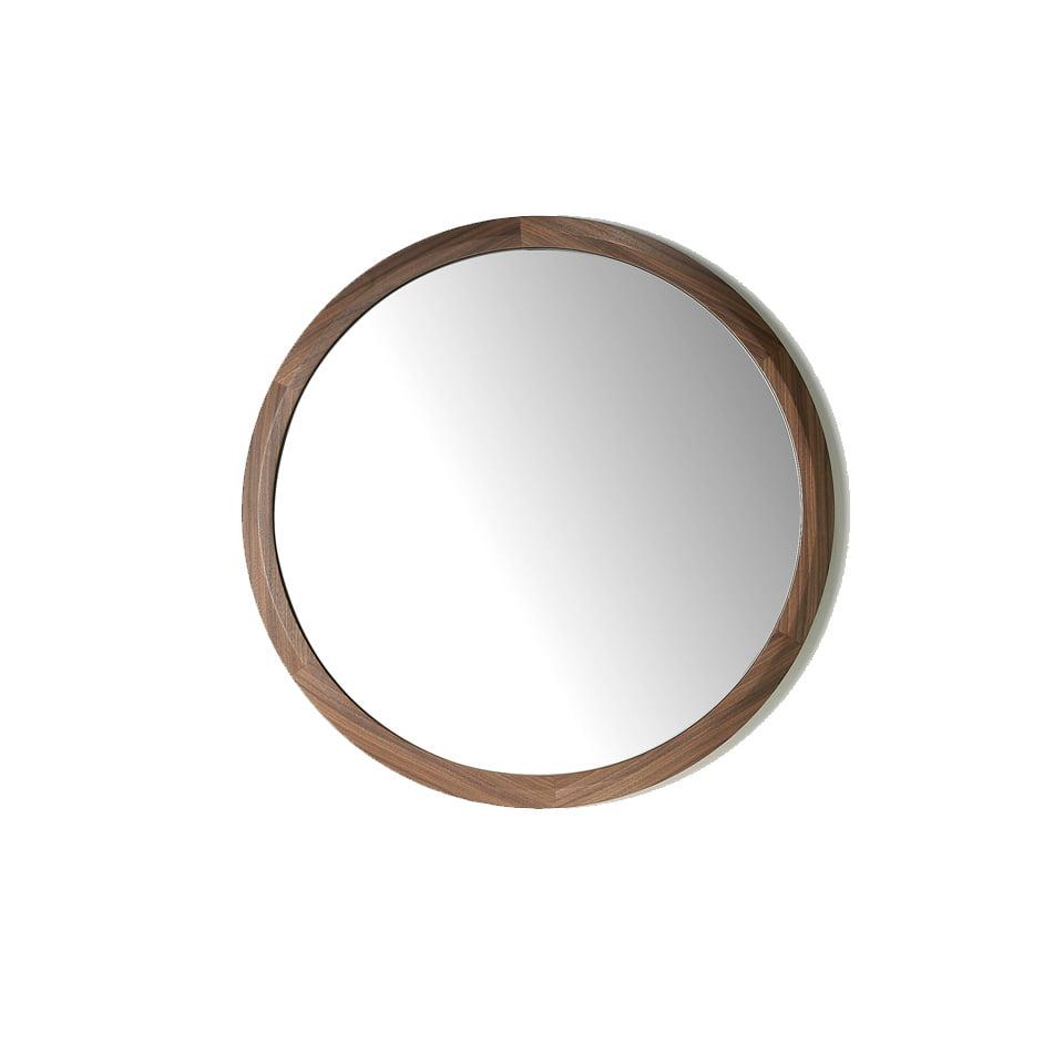 Круглое зеркало с рамой из дерева орехового цвета