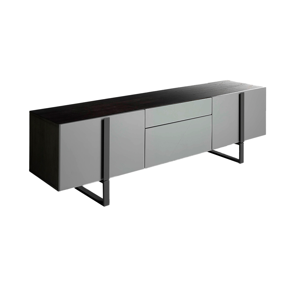 Tinto Gray wooden TV cabinet and dark gray steel