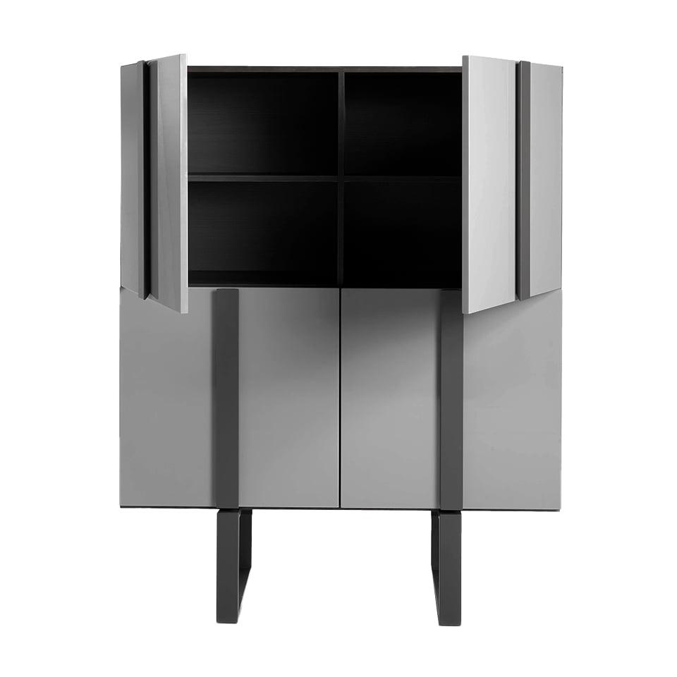 Sideboard sideboard in Tinto wood and dark gray steel