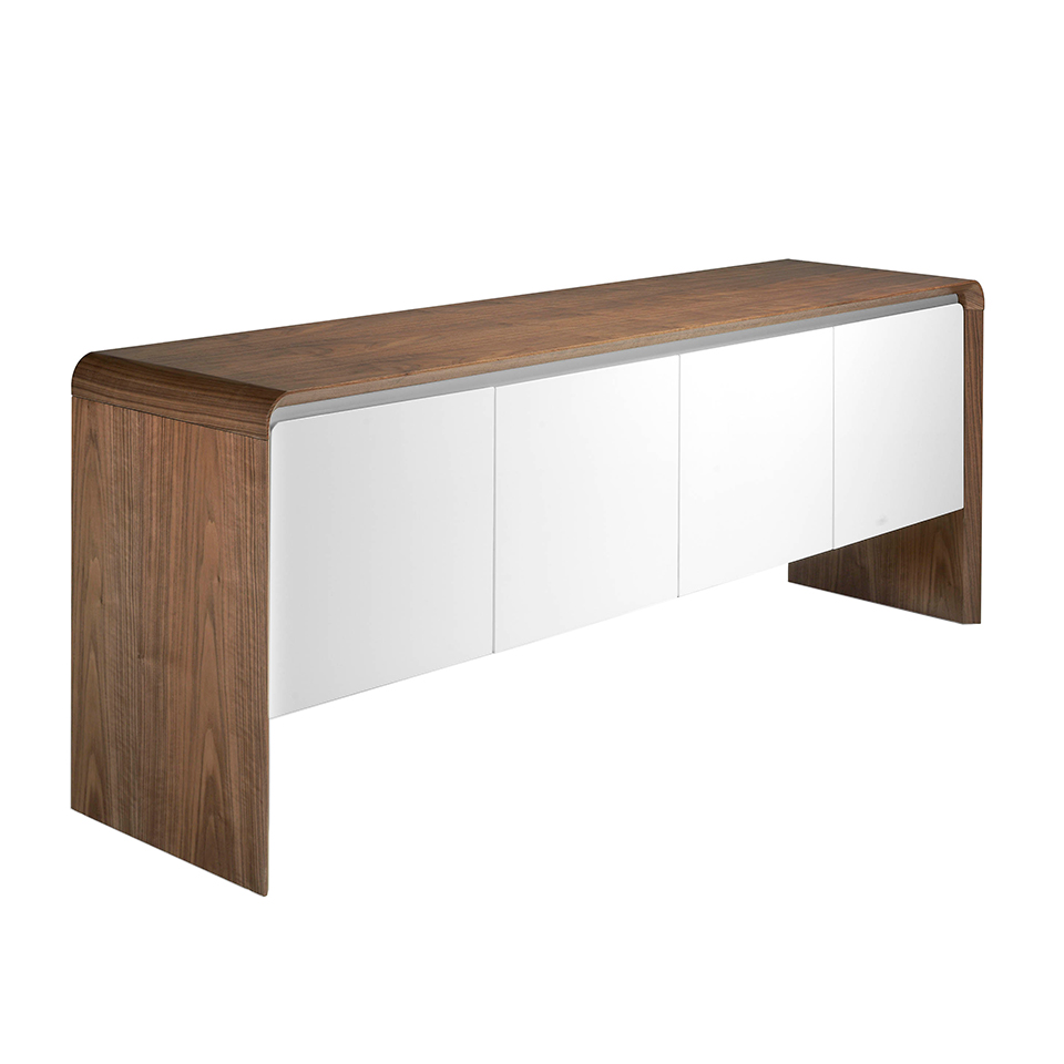 Walnut wood sideboard and White doors