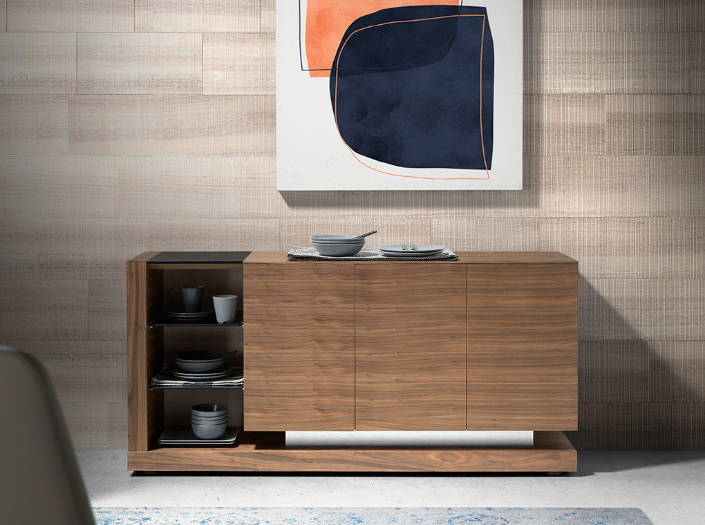 Walnut wood sideboard and black stained glass