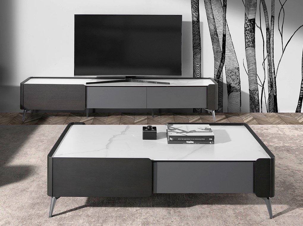 Wenge wood and porcelain marble TV cabinet