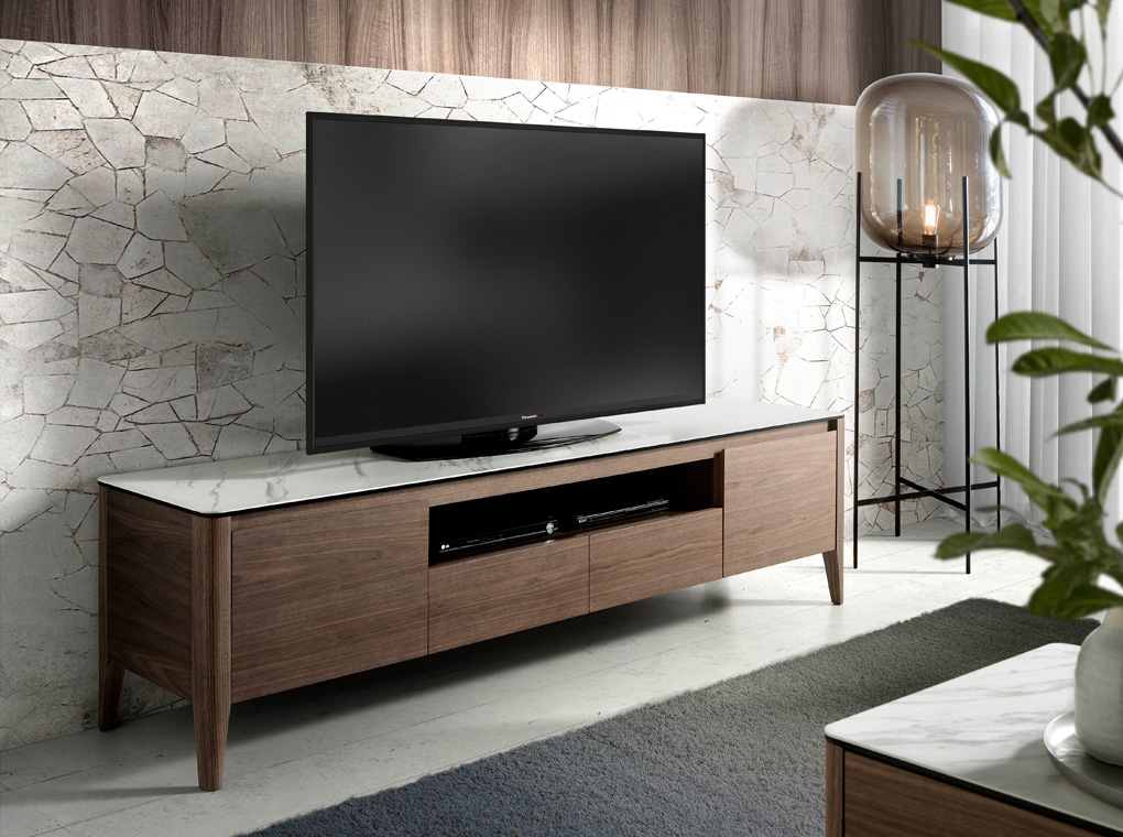 TV stand made of walnut-veneered wood with ceramic marble top