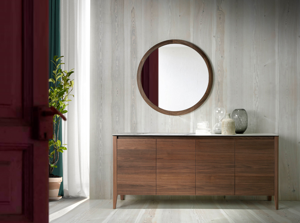 Sideboard with 4 door made of walnut-veneered wood with white ceramic marble top