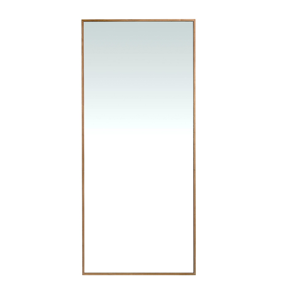 Wooden standing mirror with natural walnut finish
