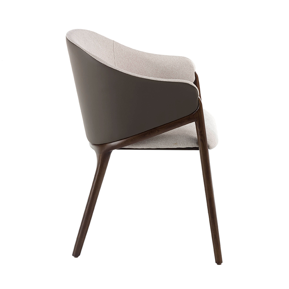 Chair upholstered in fabric and leatherette with Walnut colored wooden frame