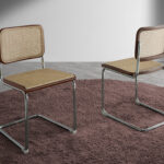 Walnut wood chair with rattan back and seat and chromed steel frame