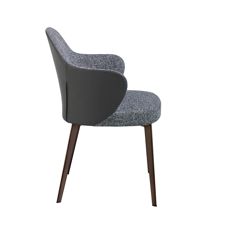 Chair upholstered in fabric and eco-leather with darkened bronze steel structure