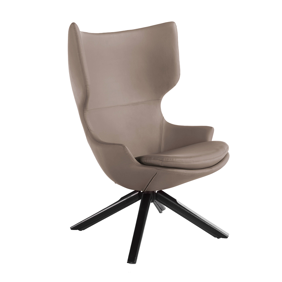Swivel armchair with cushion upholstered in leatherette