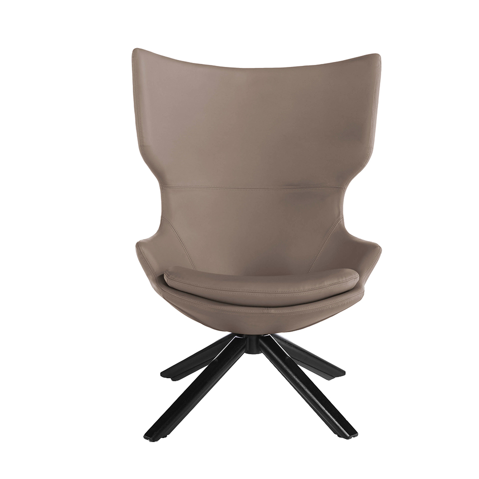 Swivel armchair upholstered in leatherette with wooden base in wenge color