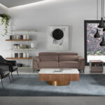 Upholstered fabric and eco-leather armchair with black steel structure