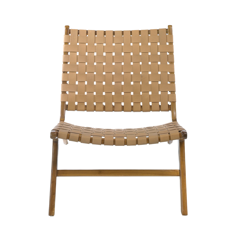 Solid teak wood armchair with natural color leather framework